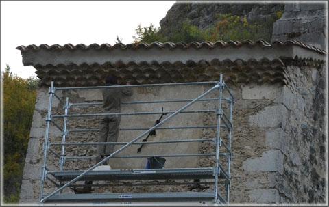La restauration des cadrans de l'horloge du temple de Pontaix 01