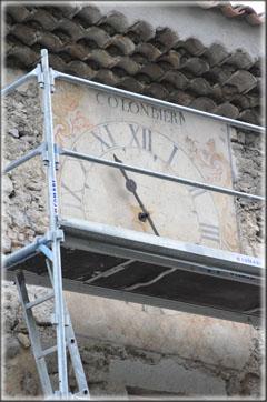 La restauration des cadrans de l'horloge du temple de Pontaix 02