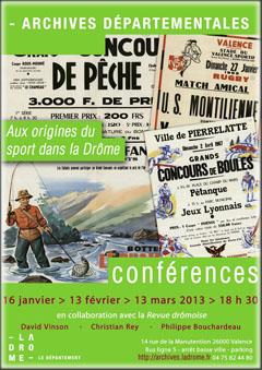 Conférence aux archives départementales de la Drôme - L'histoire du début du sport dans la Drôme