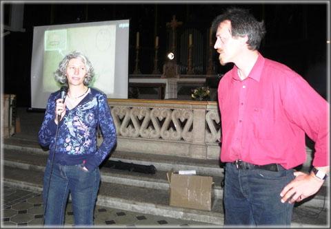 Les conférenciers Christine Ronco (INRAP) et Jacques Planchon (Musée de Die et du Diois)
