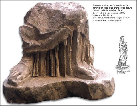 Statue romaine, partie inférieure de femme en robe plus grande que nature.