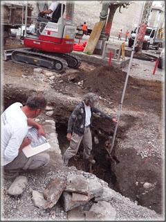 Derniers relevés pour les archéologues avant que la pelle mécanique ne prenne le relais !